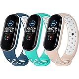 Yisica 3 Pièces Bracelet Campatible pour Xiaomi Mi Band 5 / Xiaomi Mi Band 6, Bracelets des Remplacement en Silicone pour Mi