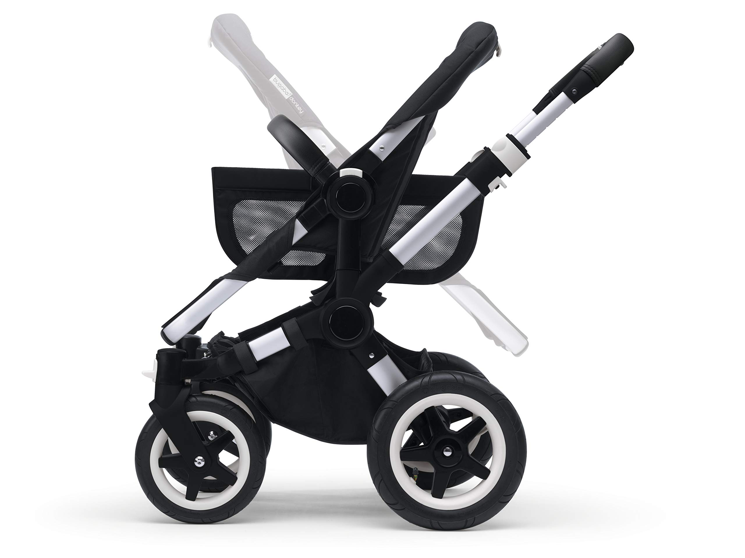 Bugaboo Donkey 2 Mono, 2 In 1 Pram and Pushchair, Extends Into Double Stroller, Black/Soft Pink Bugaboo The name donkey says it all; it's the bugaboo pushchair with the most storage space The bugaboo donkey2 mono can be easily extended to create even more space in the expandable side luggage basket & underseat basket Use extension sets to convert the bugaboo donkey2 mono into a duo or twin pushchair in just three clicks (extension sets sold separately) 5
