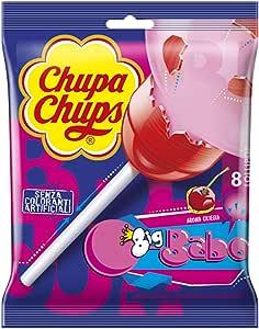 Chupa Chups Lecca Lecca Bubblegum, Maxi Lollipop Gusto Ciliegia con Ripieno Bubble Gum, senza Glutine