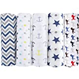 haus & kinder Chevron Stripes Cotton Muslin Swaddle Wrap for New Born Baby - Pack of 5 ( Blue )
