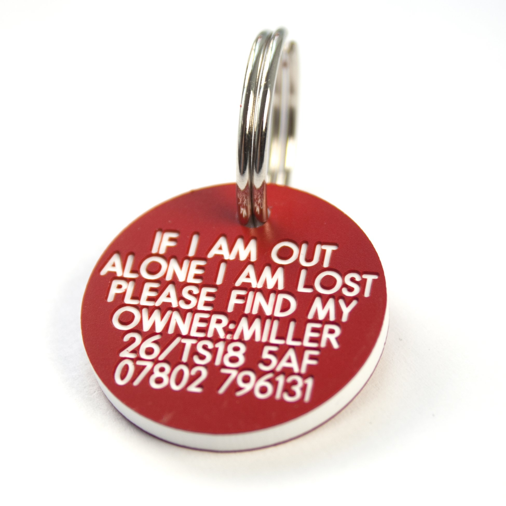 Engraving Studios Deeply engraved red plastic 27mm circular dog tag