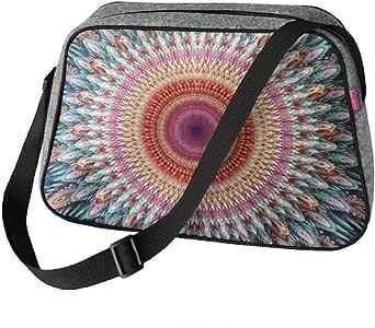 Große Damen Tasche Handtasche Umhängetasche Filz Grau Aufdruck Motiven NESI Kaleidoskope