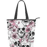 Jeansame Canvas Tote Bag Frauen Shopper Top Griff Taschen Schulter Handtaschen mit Reißverschluss Totenköpfe Halloween Blumen