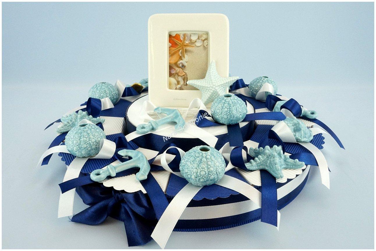 Torta bomboniere soggetti di mare assortiti con porta foto Claraluna