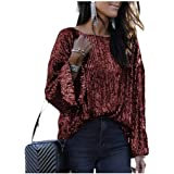 Aooword Women's T-Shirt Sequin Loose Round Neck Casual Blouse Top