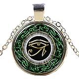 L'œil d'Horus Oeil de Wedjat Temps Collier Pendentif en Pierres Précieuses