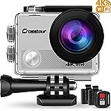 Crosstour Caméra Sport 4K Ultra HD Wi-FI 16 MP avec Télécommande Appareil Photo Étanche 30M 170 °Grand-Angle avec 2 Pouces LCD 2 Batteries Rechargeables CT9000 (Argent)