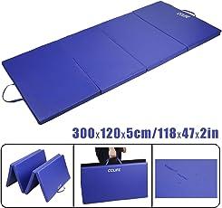 CCLIFE Tragbar Faltbar Gymnastikmatte Weichbodenmatte Yogamatte Turnmatte Klappmatte Fitnessmatte 300x120x5cm Blau