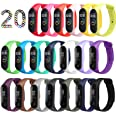 ivoler [20 pack] armband för Xiaomi Mi Band 3/4, Soft Silicone Waterproof Wearable Breathable Watchbands Accessories för Xiao