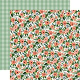 "New! Flora No. 2 Double-Sided Cardstock 12""X12""-Magnolia Meadow/Green Check - Case Pack of 25"