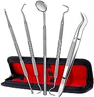 ElleSye 5er Zahnpflege Set,Zahnsteinentferner,Zahnreinigung Set,Dental Set,Edelstahl Zahnarzt Instrument,Zahnarztbesteck,Zahnsonde,Scaler, Mundspiegel für Zahnstein und Plaque