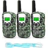 Fansteck 3PACK Talkie Walkie Talky Walky Enfant Portable Longue Transmission de 3km 8 Canaux Écran LCD pour Les Enfants - Camouflage