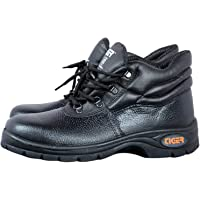 Tiger Men's High Ankle Leopard Steel Toe Safety Shoes (Size 7 UK, Black, Leather )