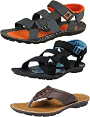 Tempo Men's Combo of 2 Sandals & Blue Orange Slipper