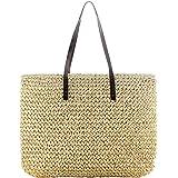 Stroh Strandtasche, Sommer Umhängetasche Korbtasche mit Reißverschluss und Mehreren Fächern, Große Kapazität für Einkauf Den