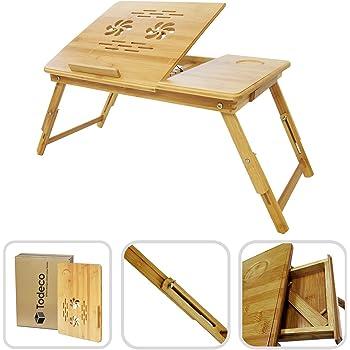 Todeco - Tragbarer Notebook-Tisch, Bett-Tisch - Material: Bambus - Größe der Tischplatte: 55,1 x 35,1 cm - Verstellbarer Tisch mit Belüftung
