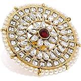 Zaveri Pearls Gold Tone Kundan & Pearls Ethnic Finger Ring For Women-ZPFK9087