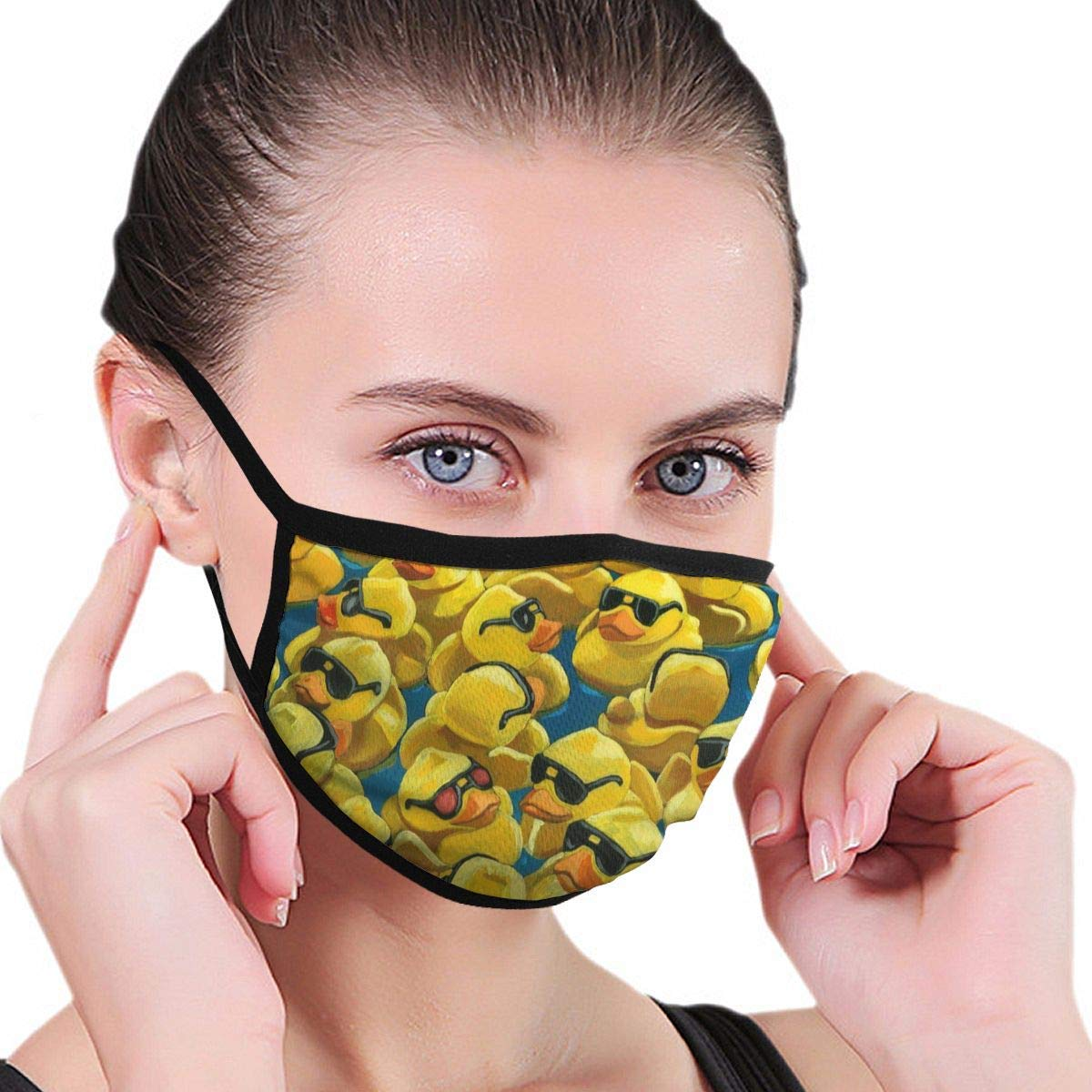 Bdwuhs Mascarillas Bucales Rubber Duck Painting Washable Reusable Mouth Mask Cotton Anti Dust Half Face Mouth Mask For Men Women Dustproof with Adjustable Ear Loops