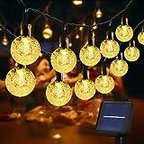 Usboo® Solar Lichterkette, 60 warmweiße LEDs 10 Meter für Innen & Außen mit Kristallkugeln, wasserdichten Kupferdrähten für Z