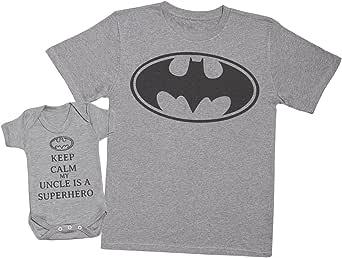Passende Onkel Baby Geschenk-Set Keep Calm My Uncle is A Superhero Herren T-Shirt /& Baby Strampler