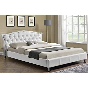 Georgio Diamante Headboard Designer Crushed Silver Velvet Upholstered Or White Faux Leather Bed Frame