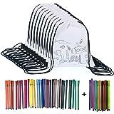 Yuccer Sac à Dos Coloriage, 12 PCS Sac a Colorier avec 48 Pièce Crayon de Couleur Sac Cadeau Anniversaire Enfant Activites An