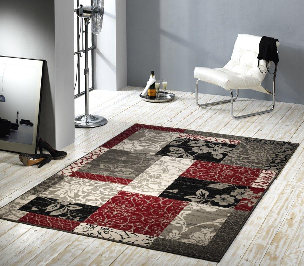 Teppich schwarz rot  Design Velours Teppich Patchwork Optik Bordüre rot / grau / beige ...