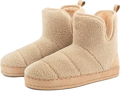 FamilyFairy Women's Warm Bootie Slippers Comfy Faux Fur Snug Memory Foam Boots House Shoes