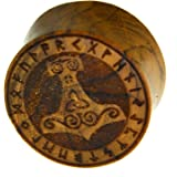 Flesh Plug in legno di teak Viking Viking Kelten Triskele Thors martello con anello runna, dilatatore a doppia svasatura in l