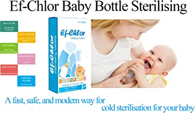 Ef-Chlor, BABY WATER BOTTLE STERILIZING TABLETS (BABY BOTTLE STERILIZER), 64 TABLETS, COLD STERILIZATION METHOD, SAFE AND ENVIRONMENTAL FRIENDLY