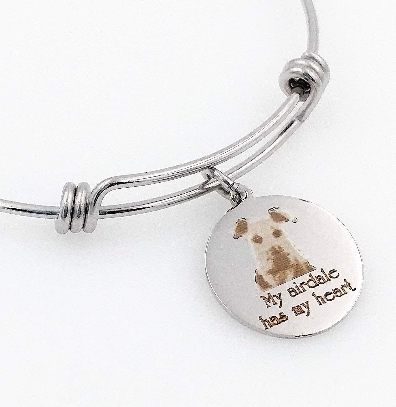 My Airdale Has My Heart Engraved Expandable Bangle Bracelet