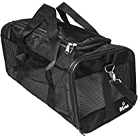 Risan Pet Transport Carrier Bag for Small Dogs Puppy Kittens Airline Travel Approved with Breathable Mesh Panels for Ventilation - 20 L x 11 W x 11 H Inches Black