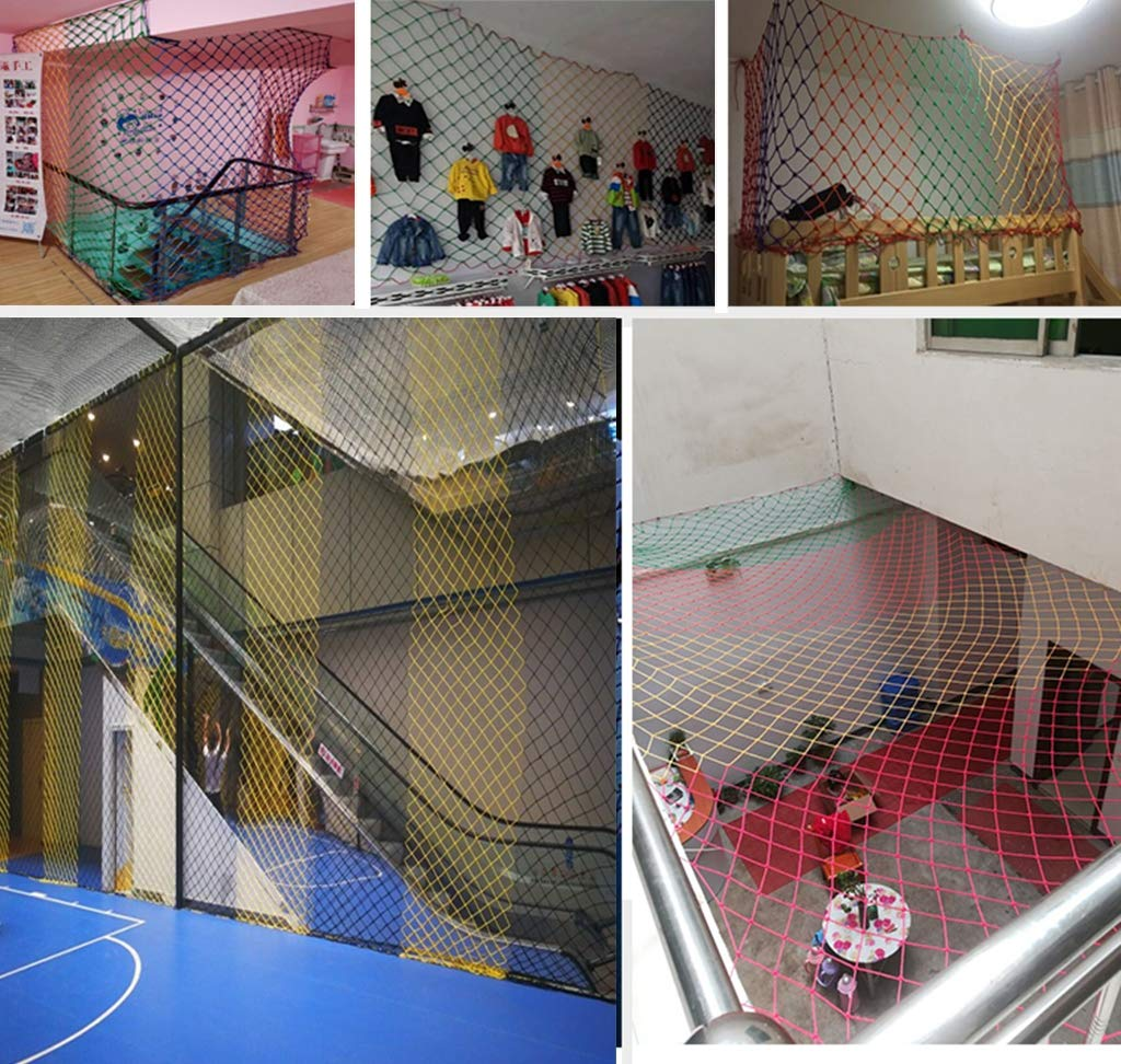HUANPIN Child Safety Net Family Balcony Railing Stairs Anti-Falling Baby Fence Net Children Playground Guardrail Kids Safety Netting Dia 10mm8cm,4×5m HUANPIN ★Handmade: High quality safety net , Hand braided Traditional structure ★Mesh Size*Rope Diameter: 8cm*10mm Length*width: please perchase as your needs. We have any other size ( rope diameter, mesh, length * width) rope net, support customization. If you have any needs, please contact us. ★ Multi-function protection net: balcony family and railing stairs balcony security loft bed protection stair railing cat climbing ladder, anti-fall and other strengthening protection; wall, house, hotel theme party, board, cafe, bookstore, restaurant, decoration, hanging and so on. 7