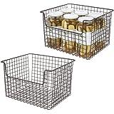 mDesign Panier de Rangement en Fil de Fer (Lot de 2) – boîte en métal Flexible pour la Cuisine, Le Garde-Manger, etc. – Panie