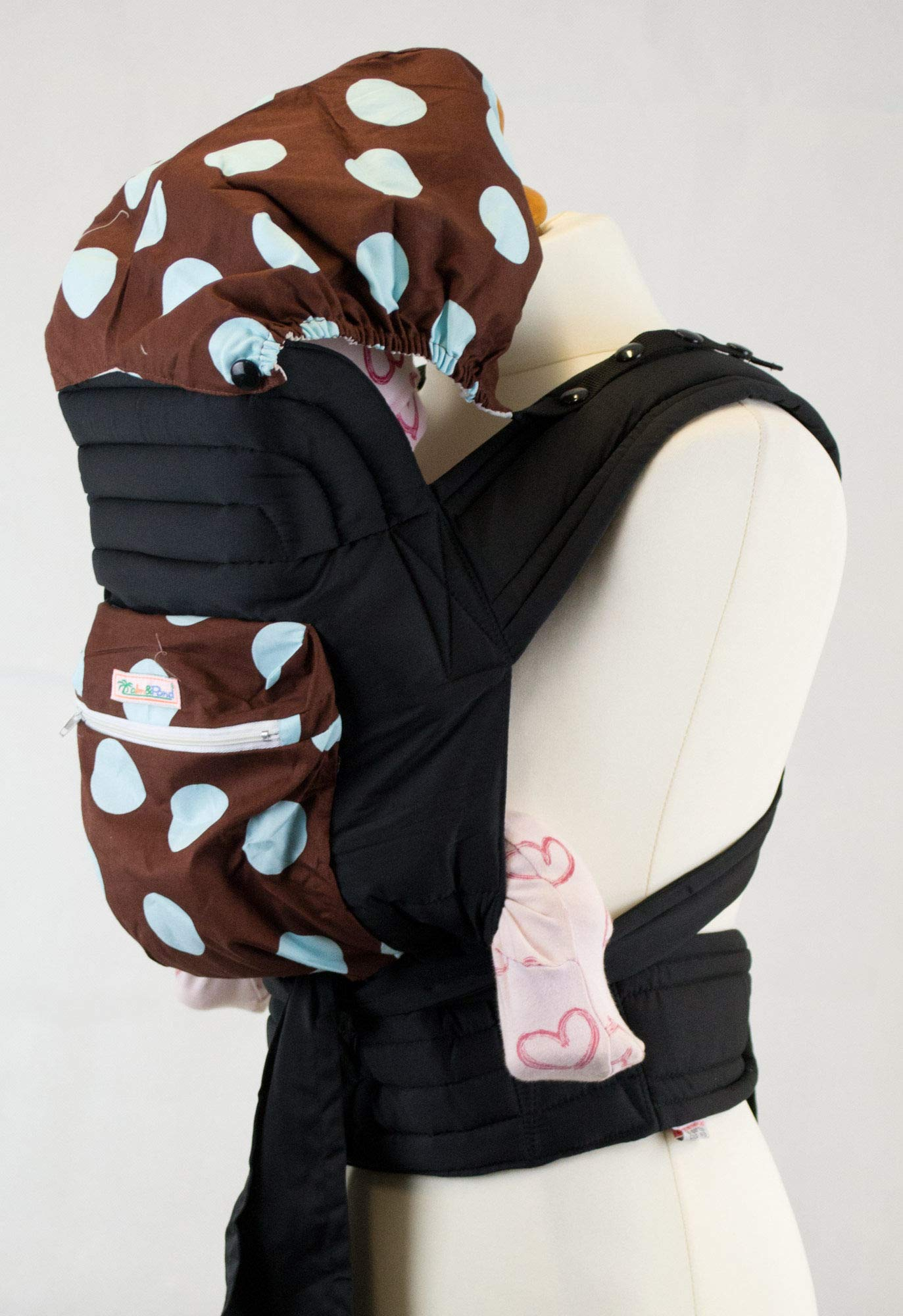 """Mei Tai Baby Carrier Sling with Hood and Pocket - Brown with Baby Blue Spots Palm & Pond Suitable for babies from birth to 35lbs. The waist strap is 180cm in length and each shoulder strap is 150cm. Full instructions on how to tie the Mei Tai in three positions, """"Front"""", """"Back"""" and Hip"""" will be sent with your sling. 1"""