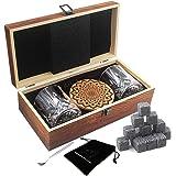 AYAOQIANG Whisky Stones Set di Regalo di 2 Bicchieri da Whiskey - Set di 16 Granito Cubetti di Ghiaccio Riutilizzabili - Whis