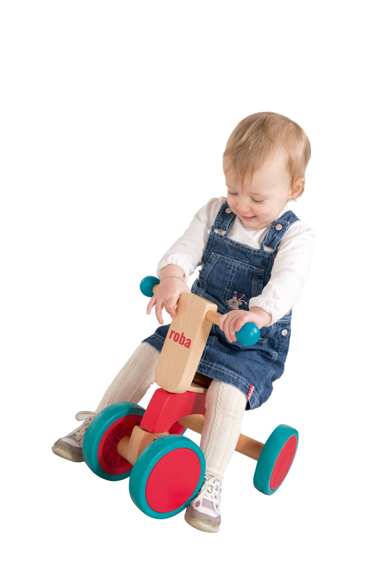 roba Wooden Vehicle for Toddlers from 1Year Old  This Roba wooden vehicle is the ideal learner's bicycle from toddlers of 12months and over to learn about balance and body coordination while having fun. The vehicle has a soft padded seat that is 22cm in height, and is suitable for children who are 80cm tall and over. The large coloured rubber tyres made from soft material (won't harm the floor) ensures a secure grip and is easy to move forward – for indoor and outdoor use. 6