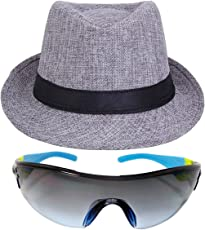 faas Fedora Hat Grey & Goggle Combo Summer Gift for Boys & Girls Age 8 to 14 yrs.FH03S