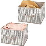 mDesign panier de rangement en tissu (lot de 2) – bac de stockage pratique pour rangement de penderie – corbeille de rangemen