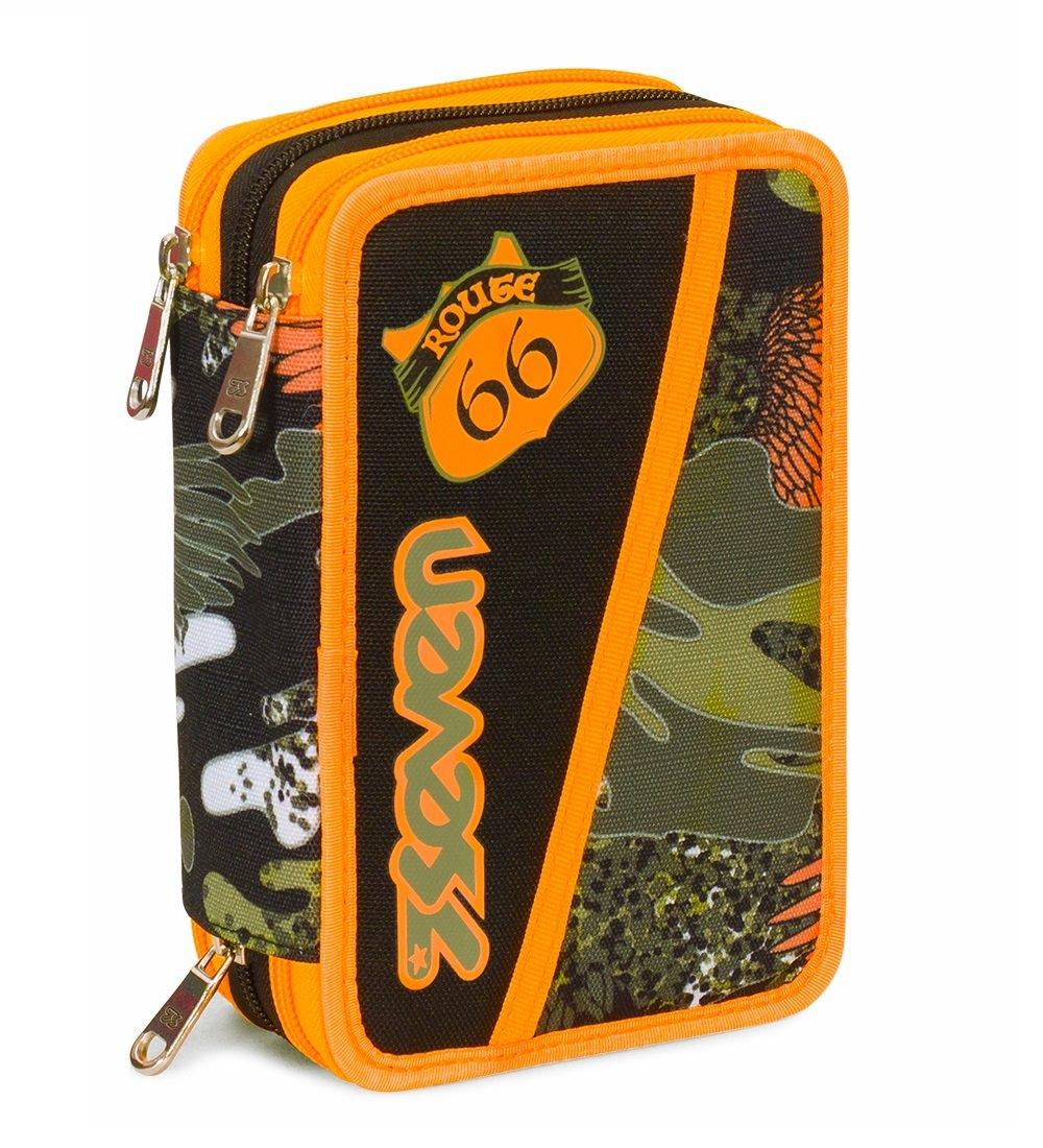 Estuche 3 Cremalleras Seven , Alary , Camouflage Verde , Pisos con Contenido: Lápices, Rotuladores …