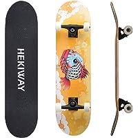 HEKIWAY - Tavola per Skateboard, con Cuscinetti ABEC-7, 7 Strati, 90A, in Acero Rigido, per Adulti e Bambini, 31 x 8 x 5 kg, carico 220 kg, per Principianti e Professionisti.