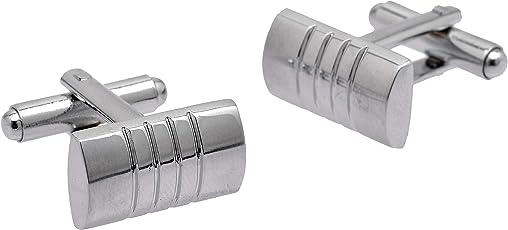 Zephyrr Fashion Silver Plated Cufflinks for Men Mirror Finish Stripe Design