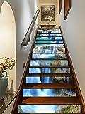 FLFK 3D Steinwasserfall Rock Selbstklebend Treppen Aufkleber Vinyl Abnehmbare Aufkleber für Treppenhaus Zuhause Dekoration 39.3Zoll x7.08Zoll x13 stücke