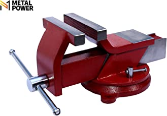 """Metal Power 125 mm (5"""") Steel Bench Vice with Swivel Base (Plain Red)"""