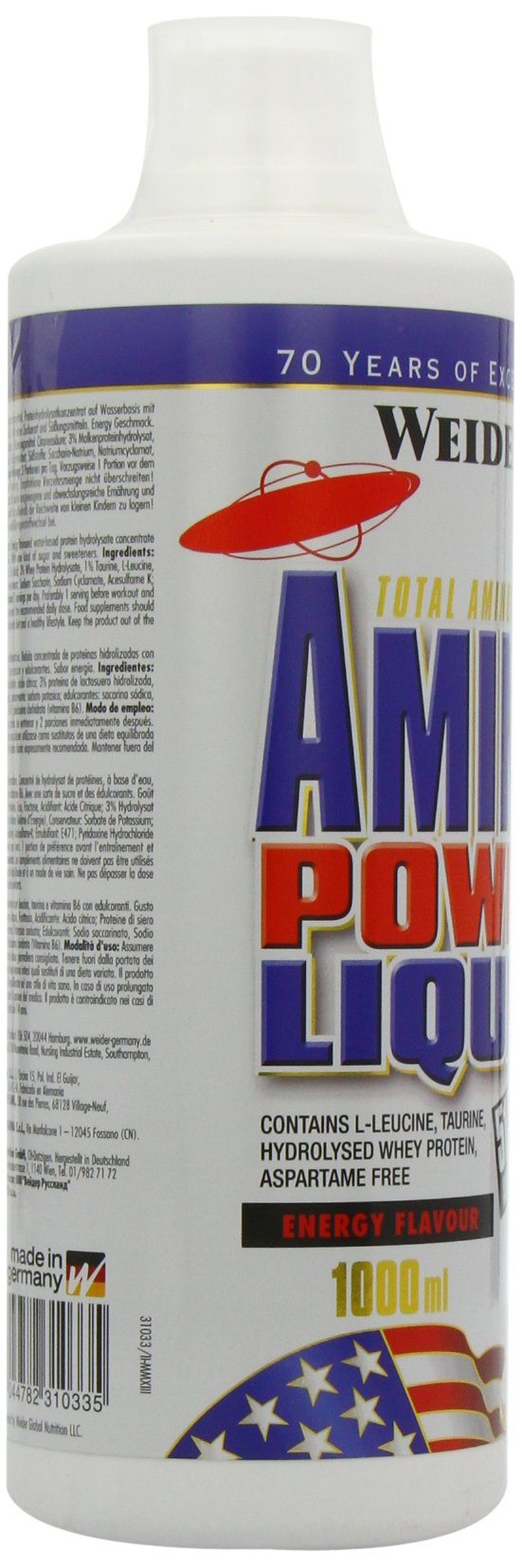 71rmgFHpi2L - Weider Amino Power Liquid 1L Energy, Essential Amino Acids, L-leucine, Free Taurine, Vitamin B8