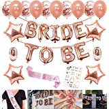 Party Propz Rose Gold Bride to Be Letter Balloons and Metallic Confetti Balloons Star Foil Balloons; Sash and Ribbons Set for