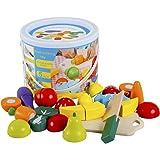 omyzam Juguetes de Madera Comida de Juguete para Niños Frutas y Verduras Juguete Montessori para Cortar Madera Juguete Juegos