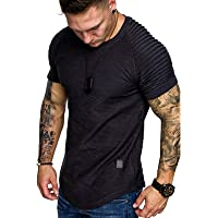 Halfword Men's Long-Sleeved T-Shirt Casual Round Neck Cotton Slim Top