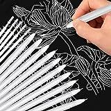Witte gelpen, 10 stuks kunstenaars witte pen met 5 vullingen voor zwart papier, 0,8 mm fijne punt witte gelpen om te tekenen,