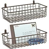 mDesign corbeille métallique murale – panier de rangement pratique pour couloir, chambre ou salle de bain – corbeille de rang